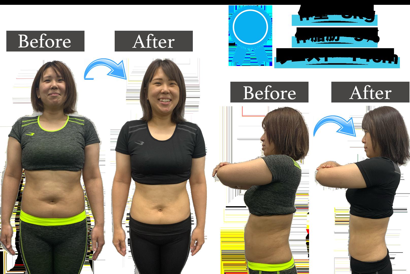 大曽根 パーソナルトレーニング ビフォーアフター 体重-8kg 体脂肪 -9% ウエスト-14cm