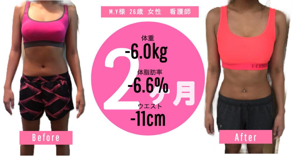 M.Y様26歳 女性看護師、体重-6,0kg 体脂肪-6.6% ウエスト-11cmビフォーアフター写真
