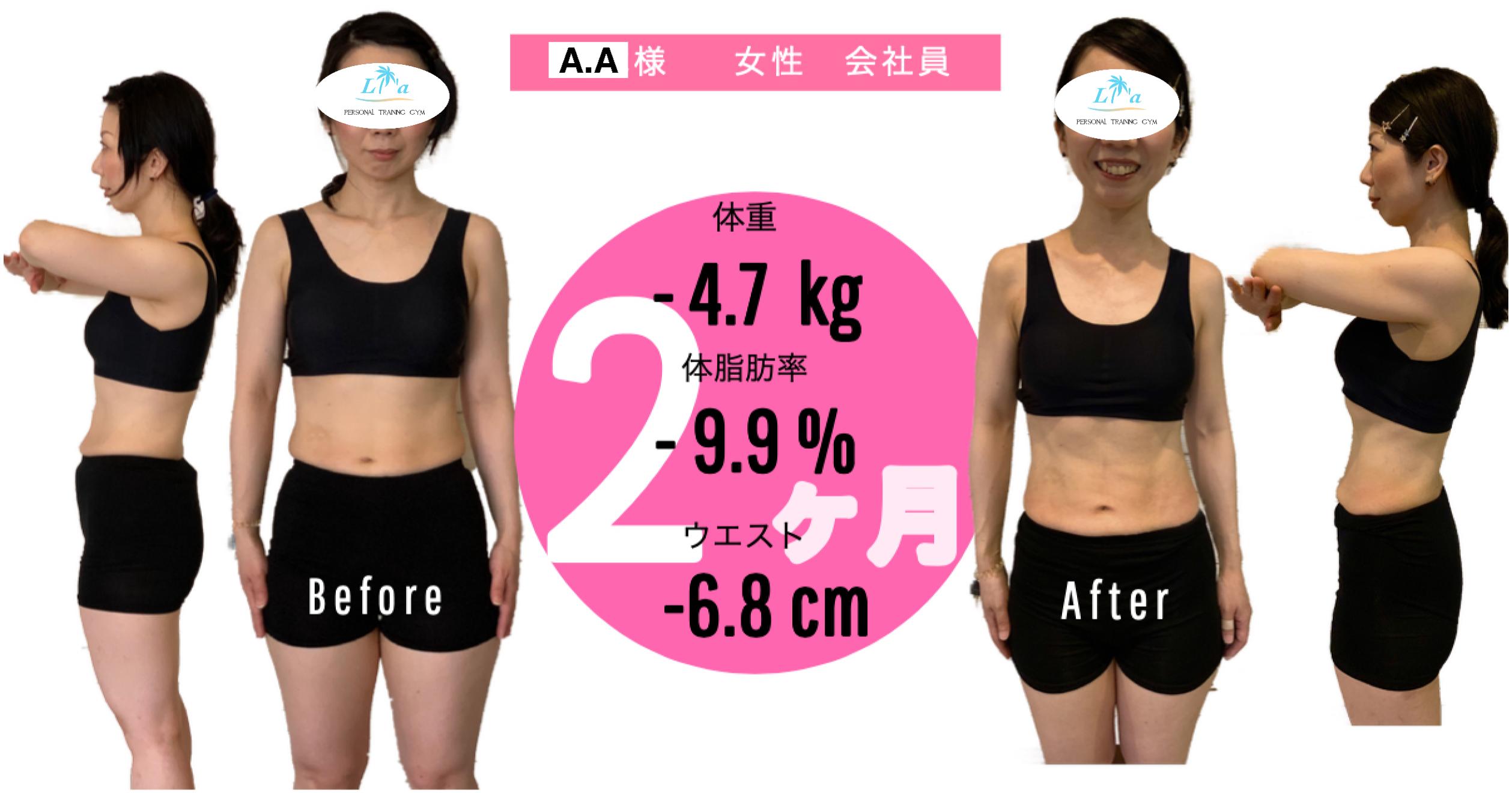 A,A様性会社員、体重-4.7kg 体脂肪-9.9% ウエスト-6.8cmビフォーアフター写真
