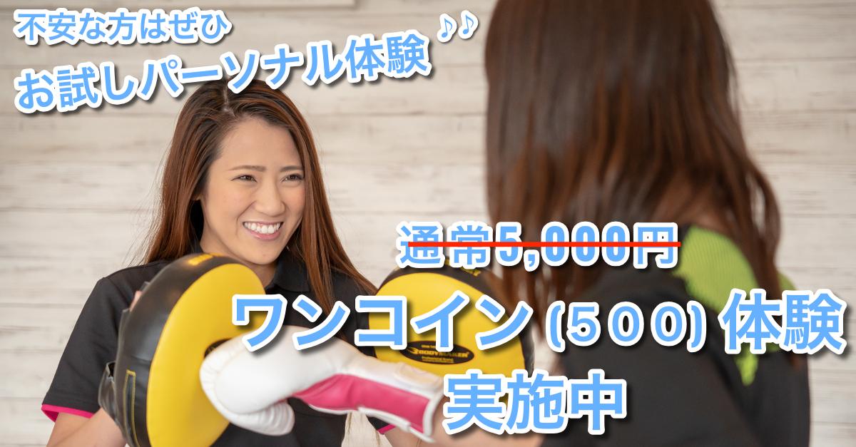 不安な方は是非お試しパーソナル体験へ、通常5000円が今ならワンコイン(500円)で通えます。