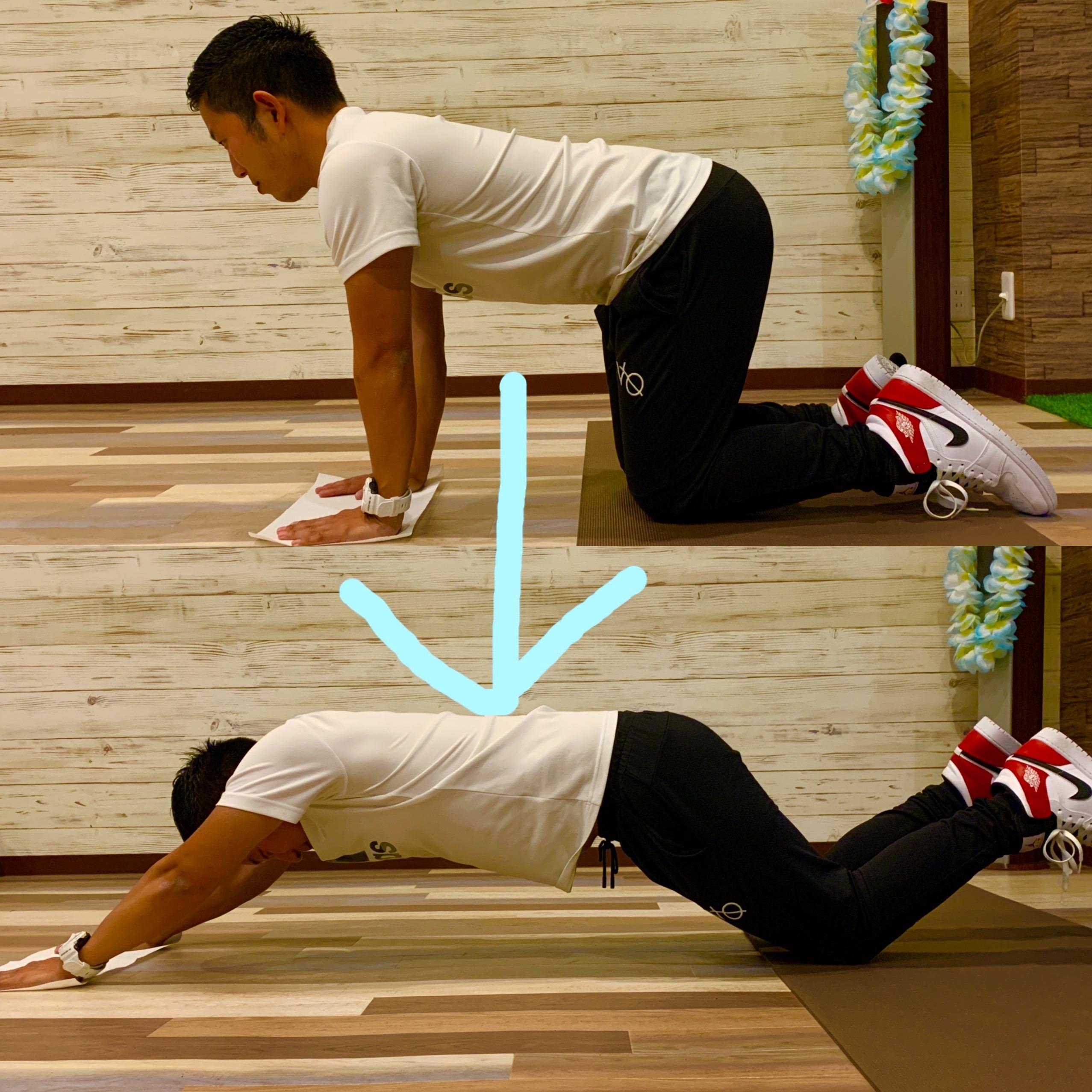 トレーナーが雑巾を使って体感トレーニングをしている