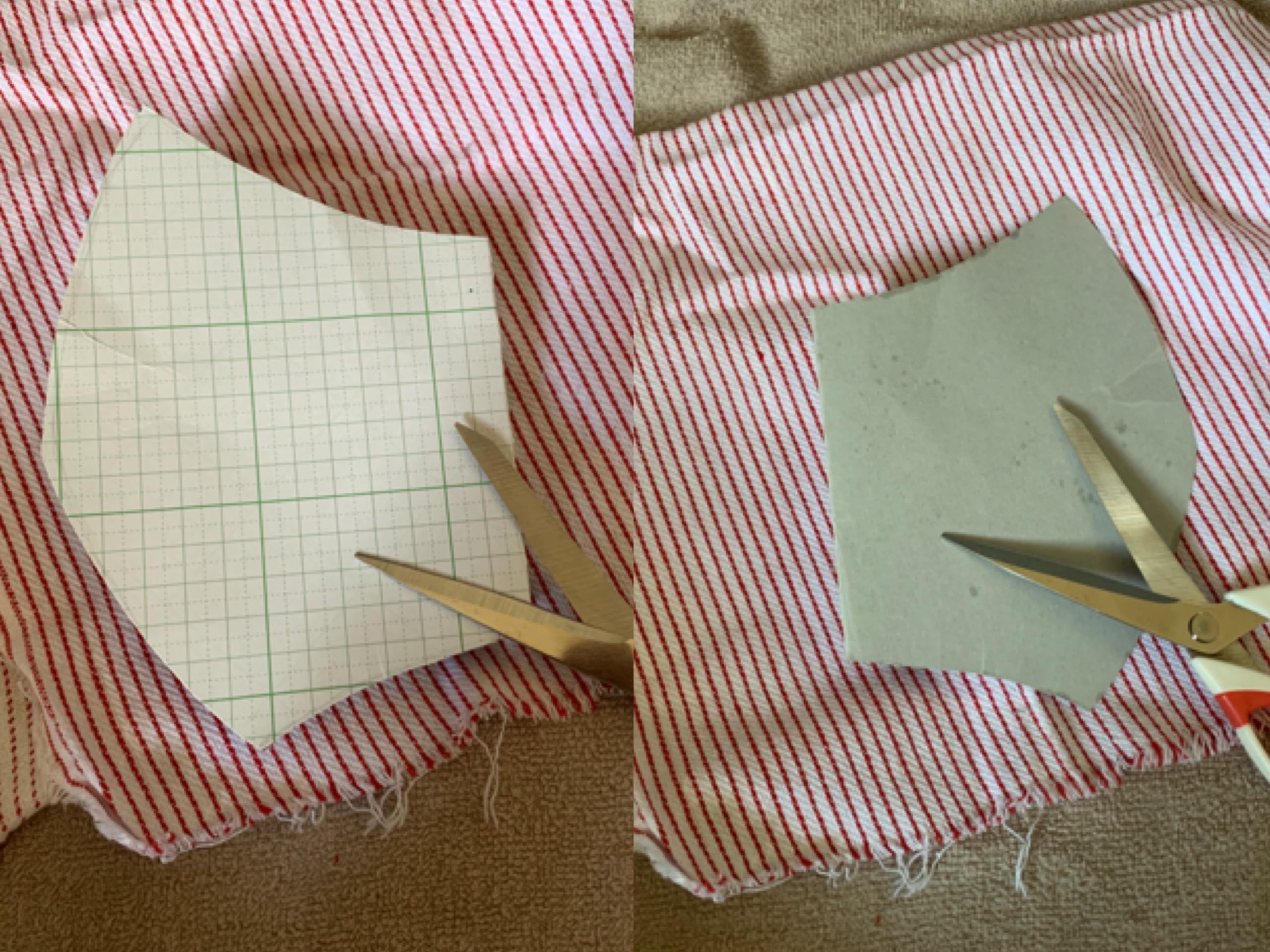 マスクの型紙とハサミの写真2枚の比較