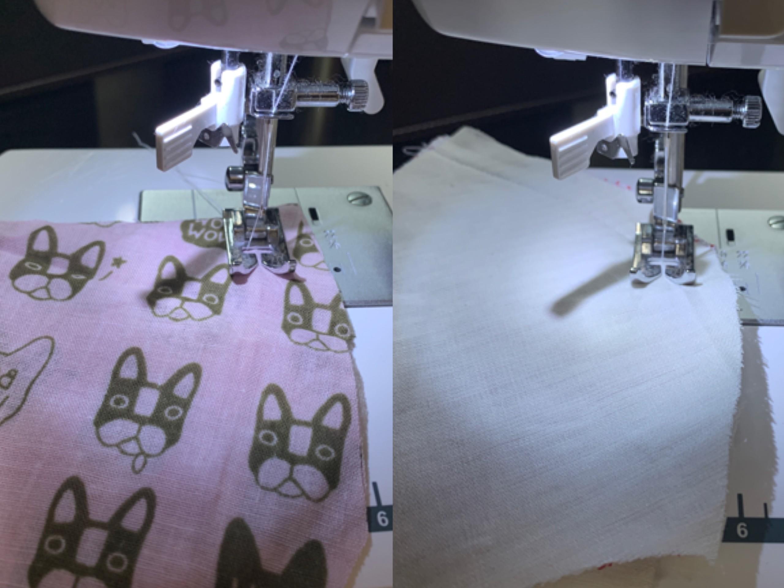 マスク作成のためにミシンで縫っている様子、裏表